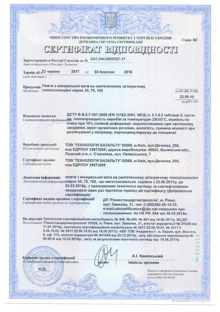 Сертифікат відповідності. Плити з мінеральної вати на синтетичному зв'язуючому теплоізоляційні марок 30, 75, 150